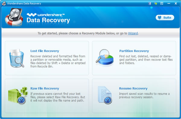 Recover lost files after system restore - main interface